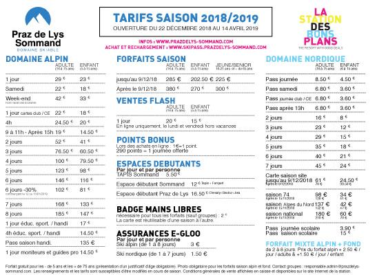 2018 2019 Tarif Forfaits de ski Praz de Lys Sommmand-1